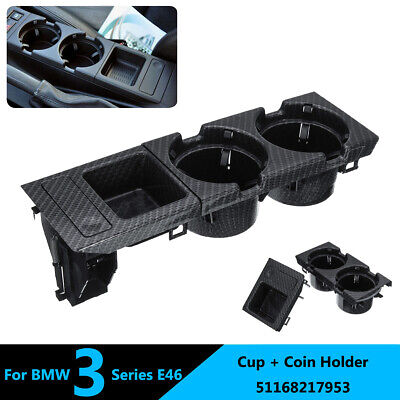 Center Console Drink Cup Holder Storing Box Carbon Fiber For BMW 3 Series E46 US