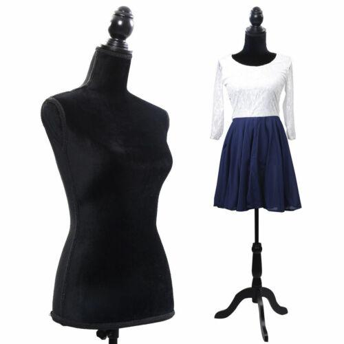 New Black Female Mannequin Torso Dress Form Display W/ Black Tripod Stand