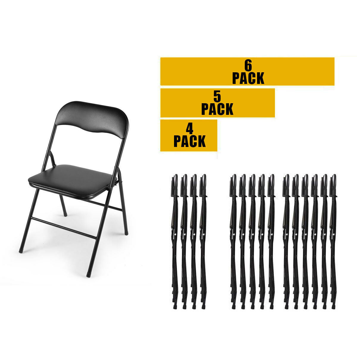 Black 4/5/6 PCS Commercial Wedding Quality  Stack-able Plast