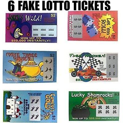 Fake Gag - 6 PHONY FAKE ALL WINNING SCRATCH OFF LOTTO LOTTERY TICKETS - Fun Gag Joke Prank