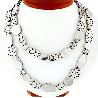 RARE John Hardy .925 Sterling Silver Long Kali Pebble & Polished Link Necklace