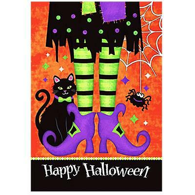 Morigins Happy Halloween Witch Feet Black Cat Spider Double Sided Garden Flag - Happy Halloween Black Witch