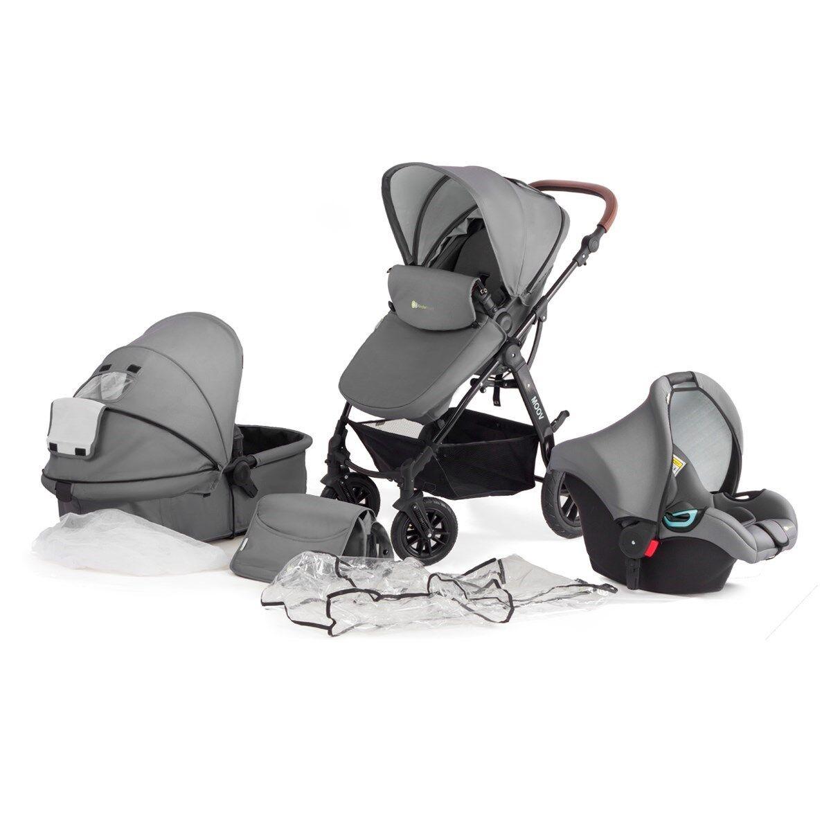 Kombikinderwagen Kinderwagen Babyschale Kinderkraft Moov 3in1 Set Multi grau