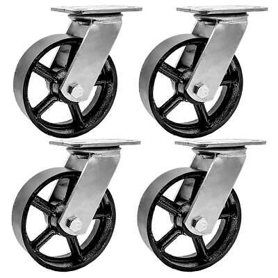 4 Pack 5 Vintage Caster Wheels Swivel Plate Black Iron Casters No Brake
