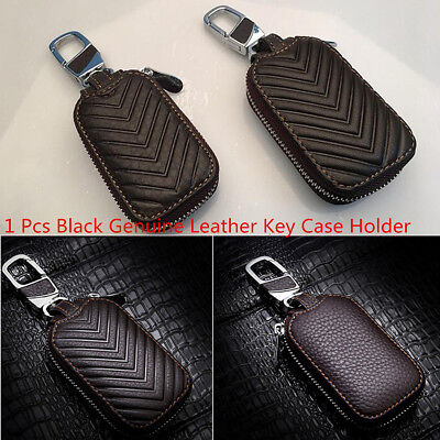 Fashion Black Genuine Leather Car Auto Key Holder Men and Women Key Purse Case
