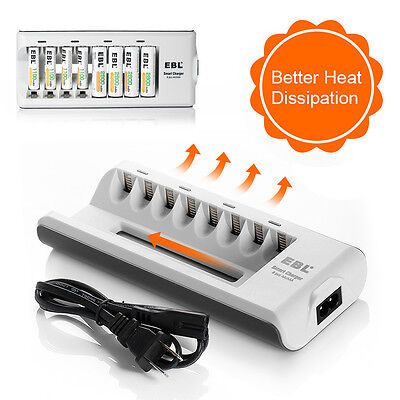 - EBL 8 Slot Smart Charger For Ni-MH/Ni-CD AA AAA Rechargeable Battery Charger