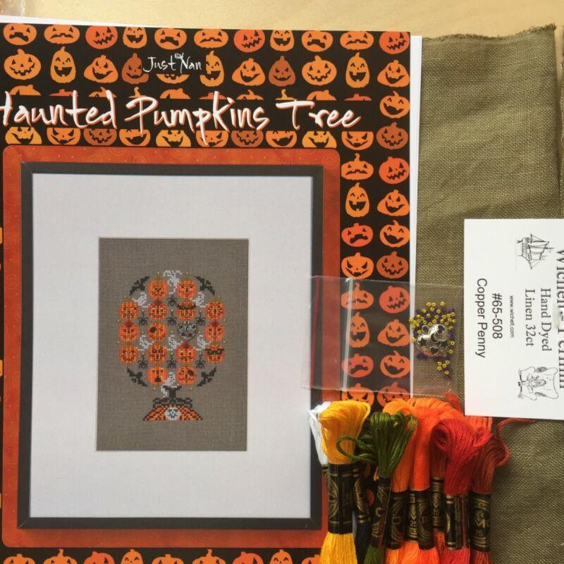 Just Nan Cross Stitch Chart & Embellishments Haunted Pumpkin Tree KIT linen dmc