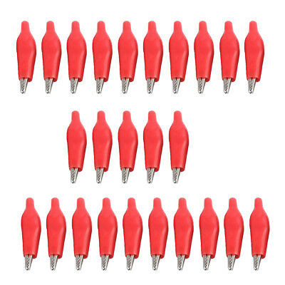 25pcs Insulated Alligator Clips Test Probe Lead Crocodile Clamps Red 28mm