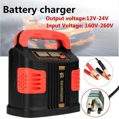 12/24V Portable Car Battery Charger Booster Smart Digital Emergency Repair -