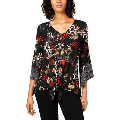 Alfani Womens Black Floral Bell Sleeves Tie-Front Blouse Top S BHFO 2203 Black Womens Tie