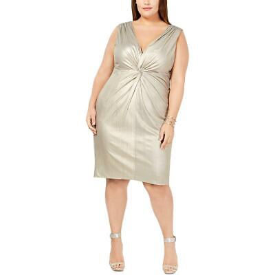 Calvin Klein Womens Gold Metallic Twist-Front Cocktail Dress Plus 20W BHFO 7869