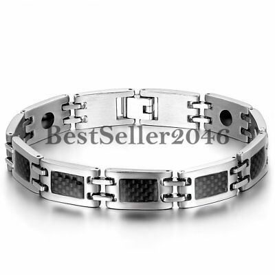Mens Carbon Fiber Rubber Link Chain Magnetic Stainless Steel Bracelet - Carbon Fiber Stainless Magnetic Bracelet