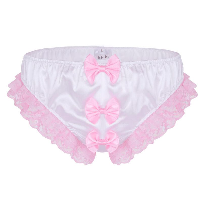 Sissy Men Frilly Lace Trim Bikini Briefs Crossdress Panties Thongs Underwear