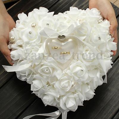 Romantic Rose Wedding Favors Heart Shaped Pearl Gift Ring Box Pillow Cushion UK