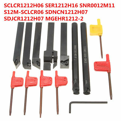 7pcs Set Of 12mm Lathe Turning Boring Bar Tool Holder For Carbide Insert