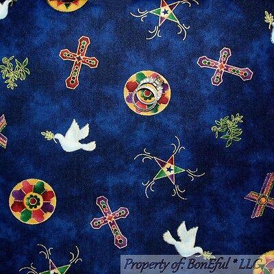 BonEful Fabric FQ Cotton Quilt Blue God Religious CROSS Dove Bird Star Christian