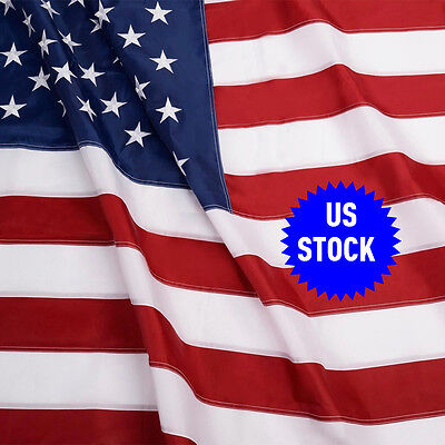 5'x8' FT USA US U.S. American Embroidered Flag Brass Grommets Sewn Stripes Stars