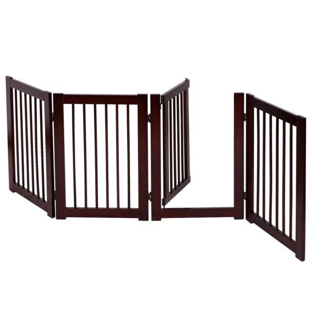 30 Adjustable Folding 4 Panel Wood Pet Dog Fence Gate Room Divider