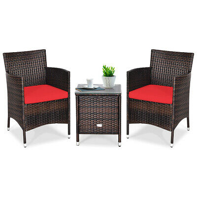 Garden Furniture - Outdoor 3 PCS PE Rattan Wicker Furniture Sets Chairs  Coffee Table Garden Red