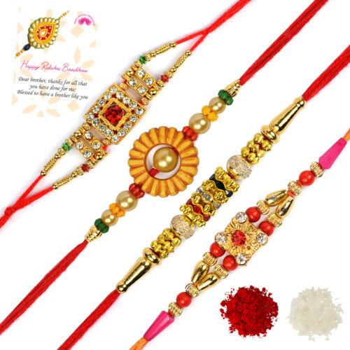 Designer Rakhi Indian Festival Stylish Bracelet Rakhi for Brother Set of 4 pcs
