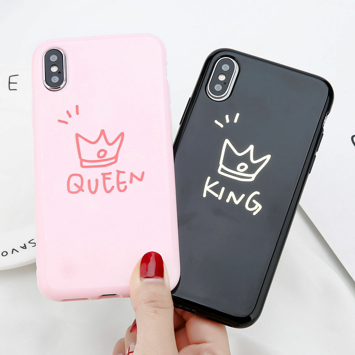 new product b6c65 76a65 Details about For iPhone X 8 6s 7 Plus Cute Couple Ultra Slim Soft Rubber  TPU Back Case Cover