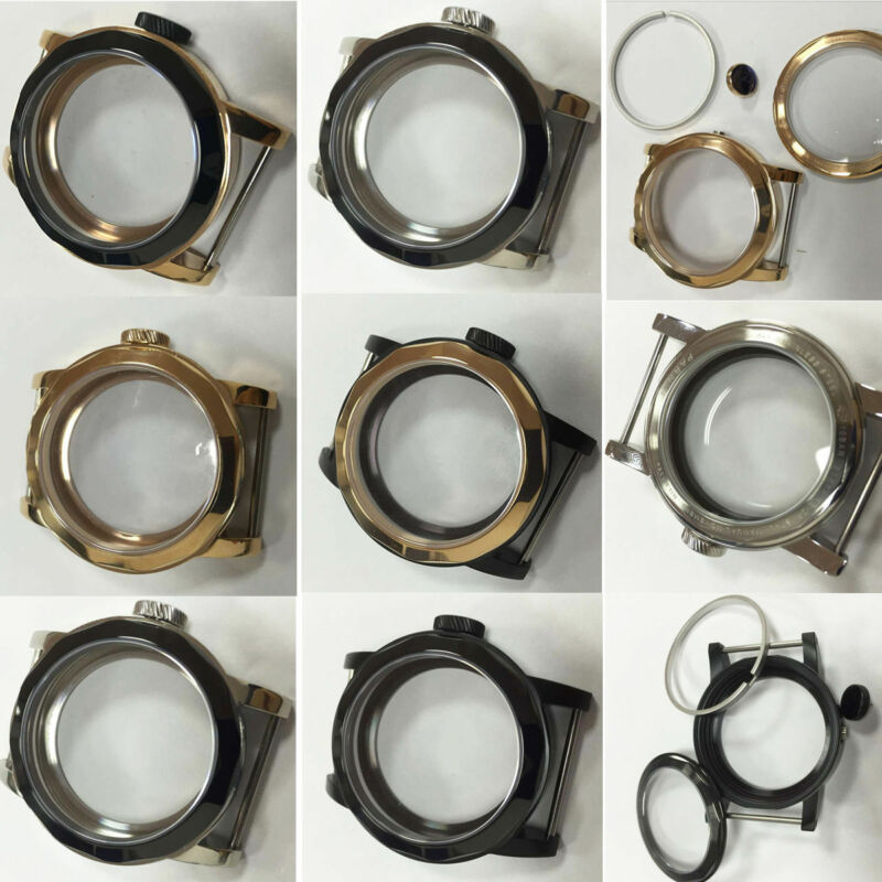 Stainless Steel Watch Case 44mm Sapphire Glass fit ETA 6497 6498 3600
