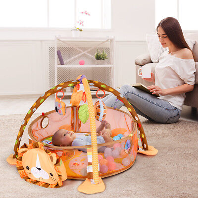 3 In 1 Lion Baby Play Mat Lay & Play Fitness Gym Activity Mat w/Toys&30 Balls