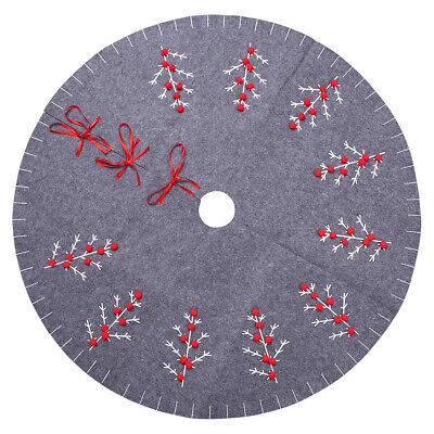 Large Vintage Christmas Tree Skirt Cover Apron Rug Floor Mat Home Party Decor