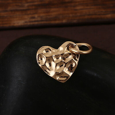 - 10 GOLD Hammered Metal HEART Sequin Charms, Flat Dot Charms, 14mm chs3415