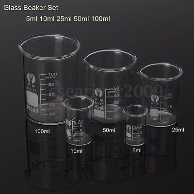5 10 25 50 100ml Low Pyrex Glass Beaker Borosilicate Measuring Lab Glassware
