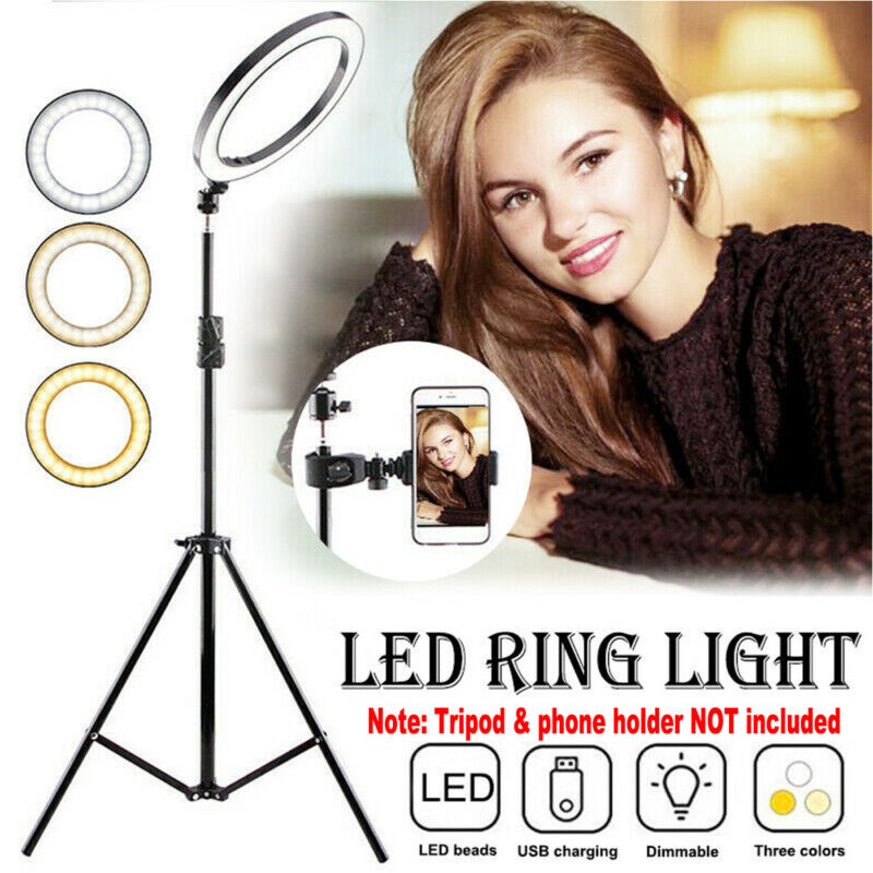 LED Ring Light Photo Video Studio Dimmable Lamp no Tripod & Phone Stand