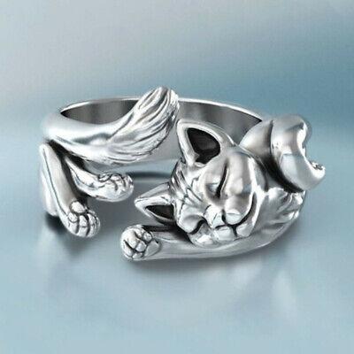 Lindo gato de plata ajustable anillo abierto anillos de bodas de plata...