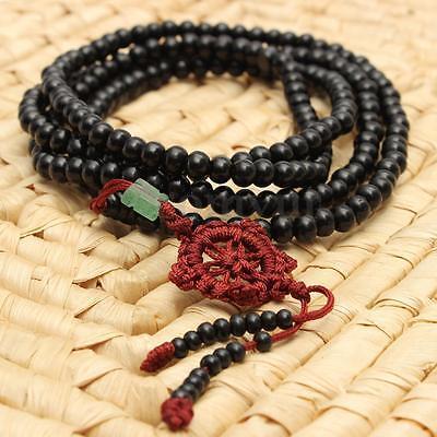 Tibetan Sandalwood Buddhist Buddha 216 Prayer Beads Mala Bracelet/Necklace Black