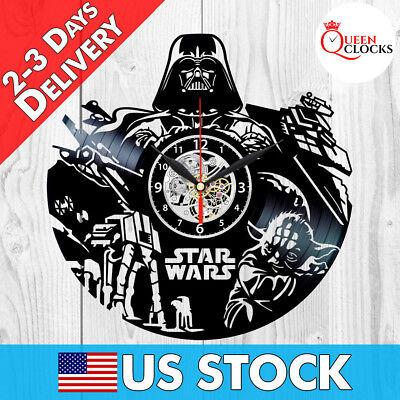 Star Wars Darth Vader Yoda Vinyl Record Wall Clock Home Room Decor Best Dad Gift](Star Wars Bedroom Decorations)
