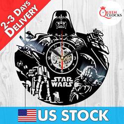 Star Wars Darth Vader Yoda Vinyl Record Wall Clock Home Room Decor Best Dad Gift