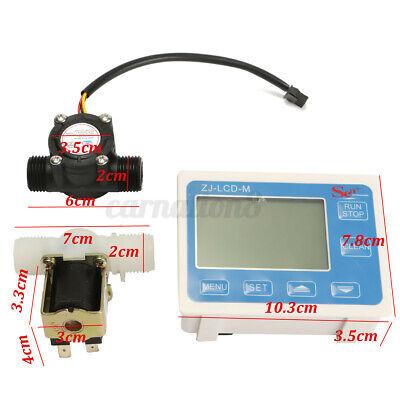 12 Water Diesel Fuel Oil Flow Meter Lcd Display Solenoid Flow