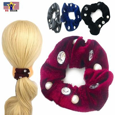 2pcs Pack Rhinestone Pearl Velvet Hair Head Tie Band Scrunchies Pony Tail Holder Head Tail Bands