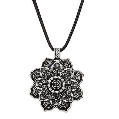 Lotus Flower Buddha (Yoga Lotus Flower Buddhist Necklaces Om Mandala Pendants Silver Buddha Tibetan )