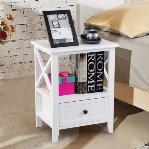 2PCS Home Wood Sofa End Side Bedside Table Nightstands with