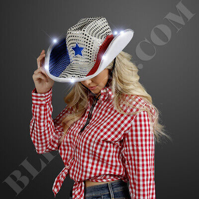 Red White And Blue Cowboy Hat (RED WHITE BLUE LED Cowboy Hat w/ WHITE LEDS -FUN Light Up 4TH OF JULY Cowboy)