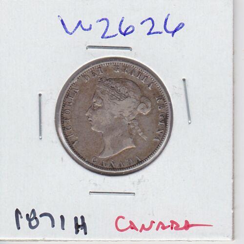 KAPPYSPENNY W2626  1871H CANADA 25 CENTS  SILVER QUARTER QUEEN VICTORIA  F+  VF