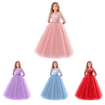 Little Big Girl Lace Flower Tutu Dress Princess Wedding Birthday Pageant Party