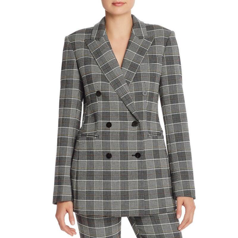 Theory Womens Plaid Long Sleeves Double-Breasted Blazer Jacket BHFO 3723