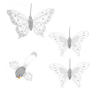 ~Deko Schmetterling~4er Set~Deko~Klammer~Clip~Vogel~Gartendeko~Garten~weiß~neu~