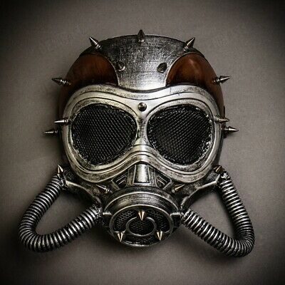 Steampunk Halloween Costume Accessories (Steampunk Spike Full Face Gas Skull Mask Costume Halloween Cosplay)