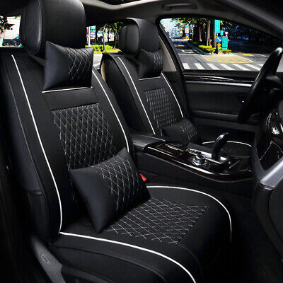 Deluxe Universal 5 Seats Car PU Leather Front Rear Cover Cushion Mat + Pillows