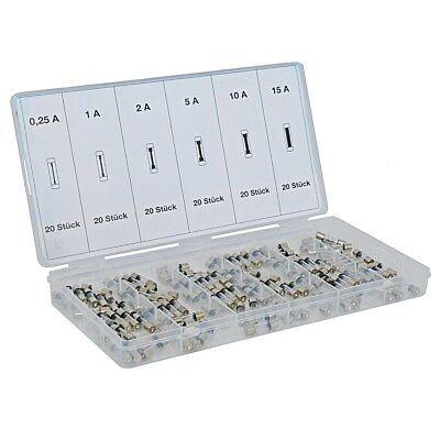 120tlg Sortiment Feinsicherungen Gerätesicherungen Glassicherungen 0,25-15A 5X20
