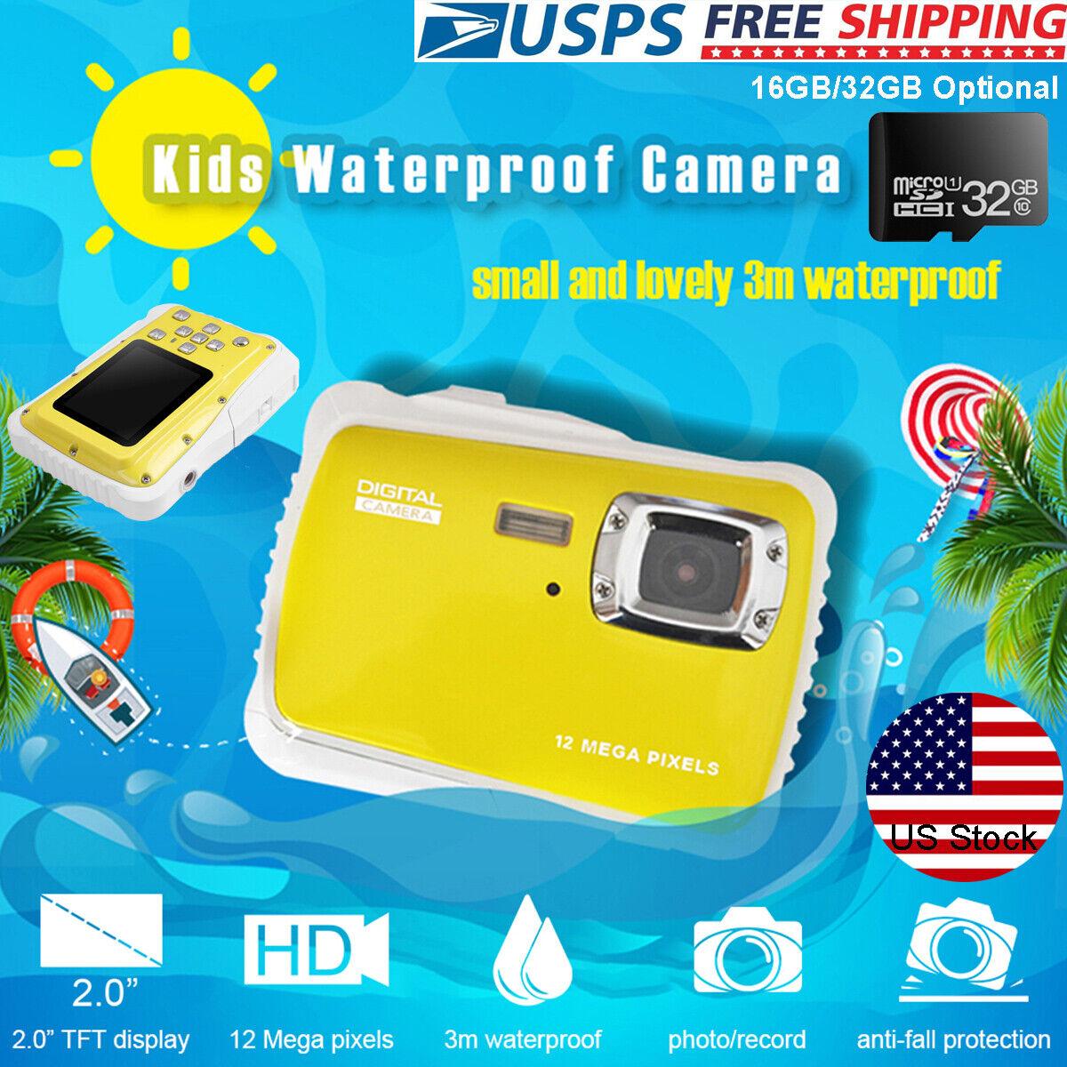 Kids Digital HD Camera 12MP Waterproof Underwater Action Vid