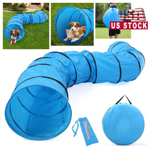 Dog Agility Equipment Training Outdoor Tunnel Oxford Cloth Pet Exercise Run Blue