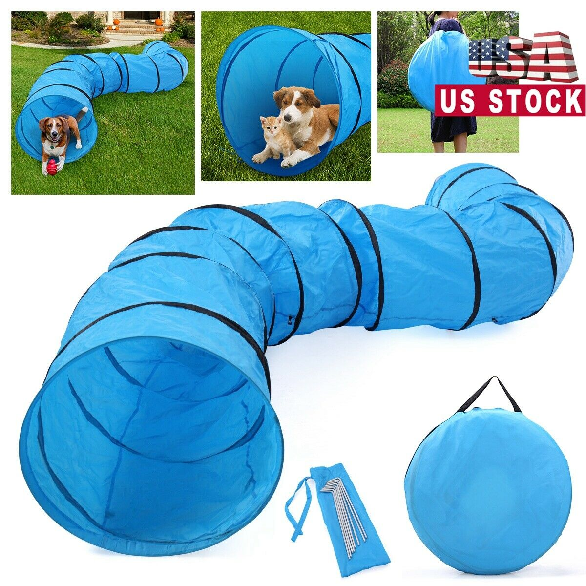 Dog Agility Equipment Training Outdoor Tunnel Oxford ...